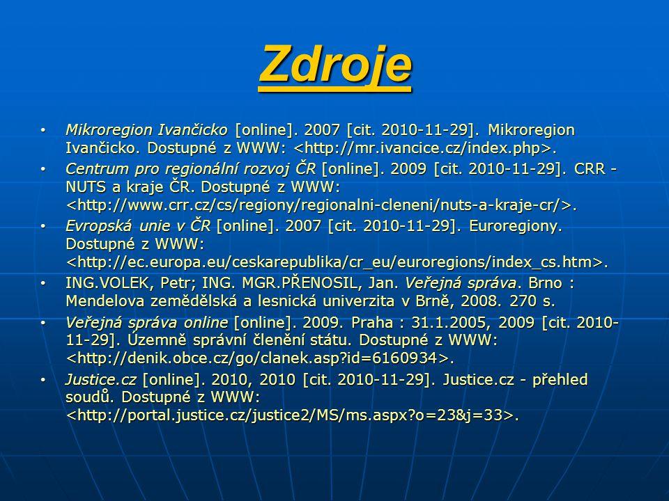 Zdroje Mikroregion Ivančicko [online]. 2007 [cit. 2010-11-29]. Mikroregion Ivančicko. Dostupné z WWW: <http://mr.ivancice.cz/index.php>.